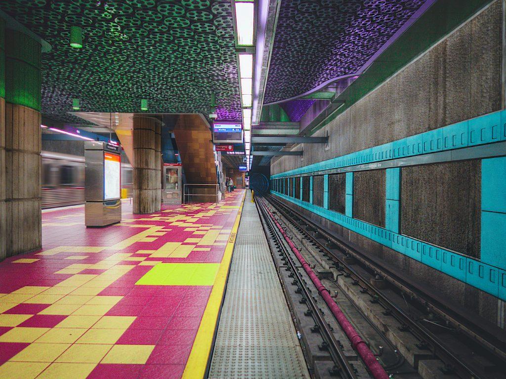 Empty colourful subway station