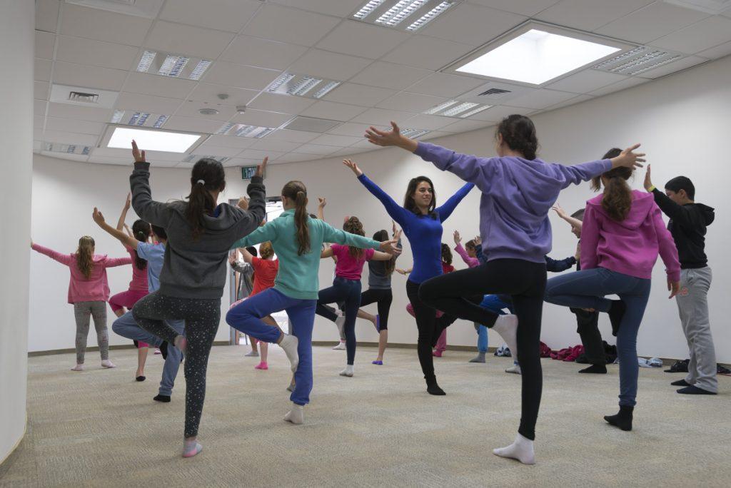 Children in a yoga class